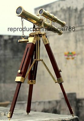 Vintage Antique Brass Spyglass Telescope With Wooden Tripod Marine Scope
