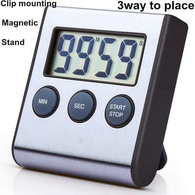Stainless Steel Digital Kitchen Timer Super Strong Magnetic Back Loud Alarm  New