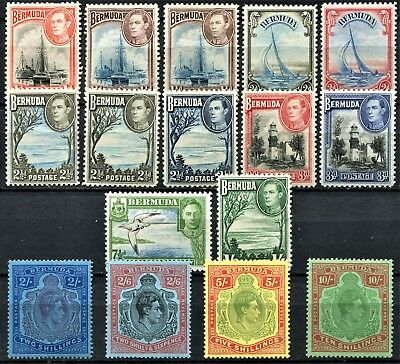 Bermuda 1938 issue, SG 110 - 119e, Mint Hinged, some cat no's below, CV £290