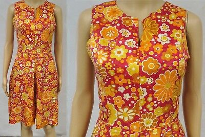 Vintage 60s 70s Dress Floral Shiny Pleated Fit Flare Flower Child Boho Retro