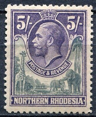 Northern Rhodesia 1925 issue, SG 14, 5/- Slate Grey & Violet, M/Hinged, Cat £50