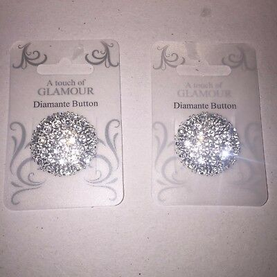 2 Stunning silver Large 38mm Crystal diamante button new