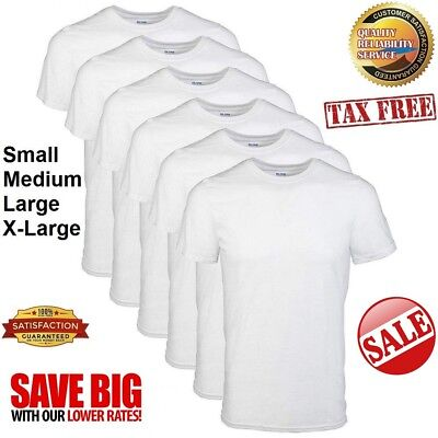 c629cf94 GILDAN Men's Crew T-Shirt Short Sleeve Plain Blank Stretch White (Pack of 6