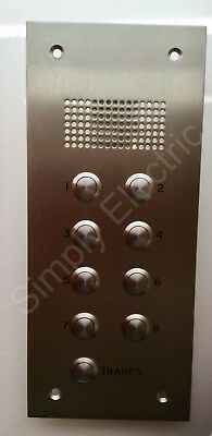 Steel Door Entry intercom front panel 8 Button + Trade SINGLE 30x13 Anti Vandal
