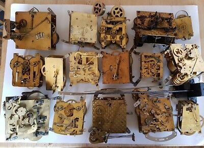 HUGE lot clockwork mechanical clock movements/parts/cogs x16 brass steampunk art