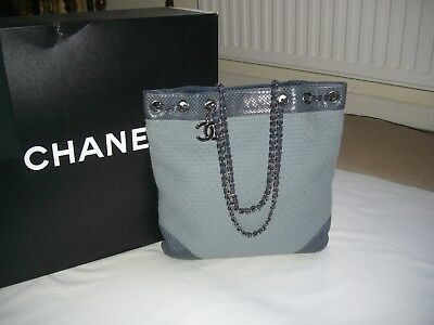 29ce37f48b5b AUTHENTIC**CHANEL**FABRIC AND SNAKESKIN Print Leather Tote Bag - $661.71 |  PicClick