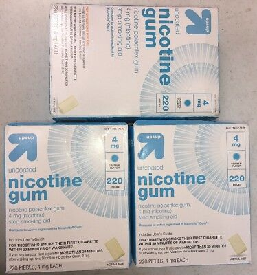Lot Of 3 Up and Up Uncoated Nicotine Gum 4mg Original Flavor 220 Pieces