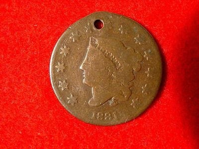 1831 1c Coronet Large Cent Penny Liberty Holed Jewelry FREE S/H After 1st Item