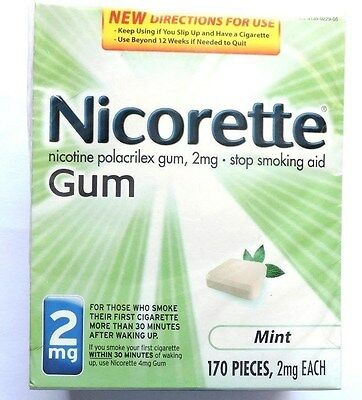 """Nicorette 2mg. Mint Nicotine gum 170pc. FactorySealed """"NOT COATED"""" exp.June 2018"""