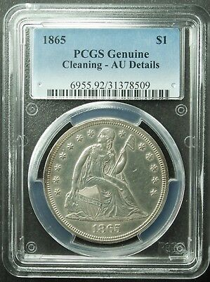 1865 Seated Liberty Dollar, PCGS, AU-Detail, Cleaned, SWEET!!  (More at Store)