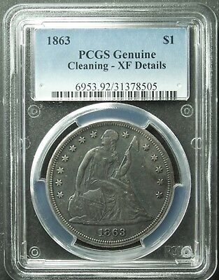 1863 Seated Liberty Dollar, PCGS, XF-Detail, Cleaned, SHIP FREE (More at Store)