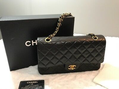 dbcbff02199eb2 AUTHENTIC CHANEL BLACK Quilted Lambskin Leather Classic Jumbo Double ...