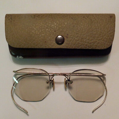 Vintage Gold Wire Rimmed Eyeglasses Hexagon with Leather Case for Charity