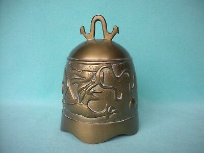 Large Vintage Antique Asian Brass Gong Dinner Bell with Dragon in Relief