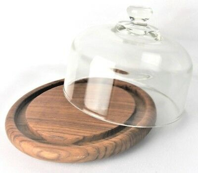 Vintage Julie Pomerantz for Goodwood TEAKWOOD Cheese Plate w/ Glass Dome - NIB