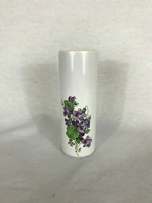 Rare vintage- Spring Bouquet white hand painted Vase glass purple flowers bud