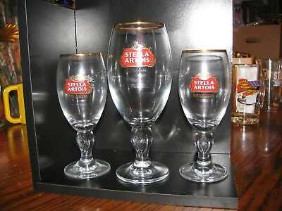 Vintage - Set of (3) STELLA ARTOIS - Stemmed Beer Glass!!