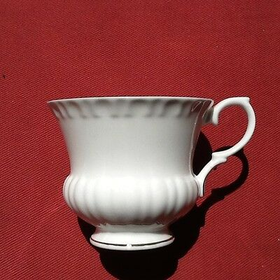 Crown Staffordshire White Ribbed Gold Rim Pattern A807 Footed Tea Cup England