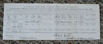 historic! 1876 old MONTANA TERRITORY Deer Lodge Co. STATISTICS form BIRTHS RANCH
