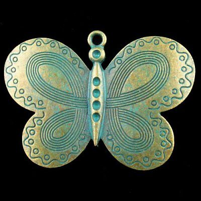 F25135 Carved Brass Bronze Butterfly Pendant Bead 64x44x2mm
