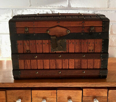 Antique Patented Excelsior Doll Chest Slat Trunk Dome Wood  Rivets  Sm 14X9X9