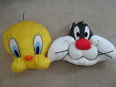 Lot of 2 1994 Looney Tunes Sylvester + Tweety Bird Plush Pillow Play By Play BIG