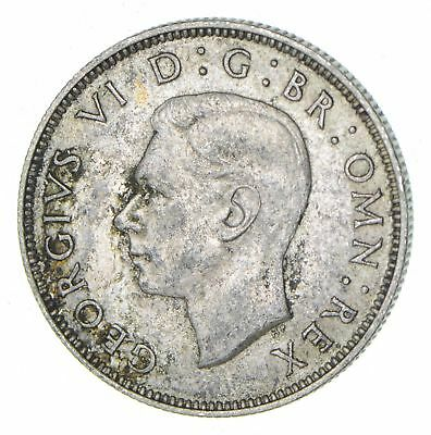 SILVER - Roughly Size of Half Dollar - 1939 Great Britain 2 Shillings 11.3g *487