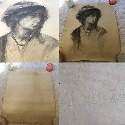 Antique Early 1900's Drawing Portrait Of Woman French Paper Mbm.