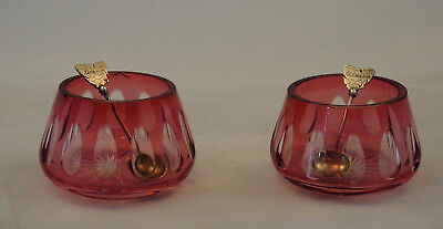 Pair Cranberry Crystal Cut To Clear Open Salts 2 T&s Tasmania Map Silver Spoons