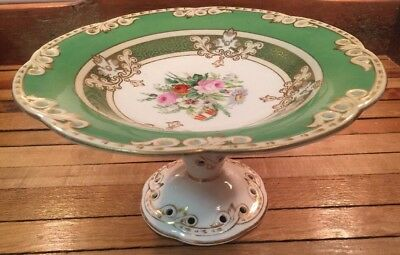 Mid-1800s Antique English Painted Porcelain Compote Roses Gold Trim Green White
