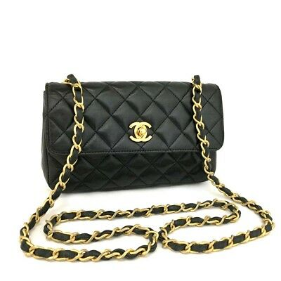 CHANEL Quilted Matelasse CC Logo Lambskin Chain Mini Shoulder Bag Black   o630 185ffb772d