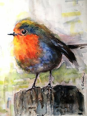 "A-685 Original Watercolor Painting ""Red Robin"" Gift Idea Birds birthday card"