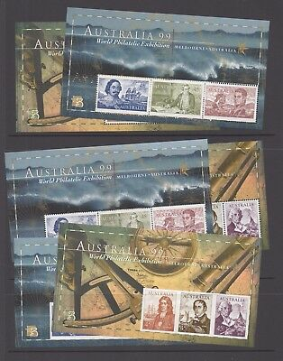 "Australia Stamps 1999 - set of 6 mini sheets inc. perf ""A99"" - MNH"