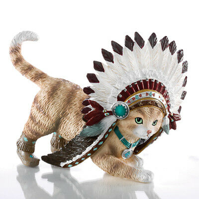 Leaping Claws Cat Animal Native Figurine Bradford Exchange Resin Decoration