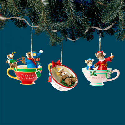 Christmas Teacup Ornament s Mouse Charming Tails Figurine Bradford set of 3