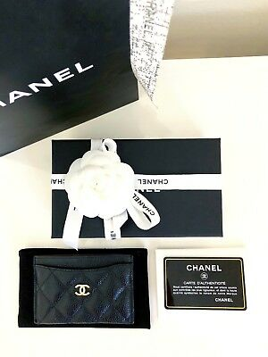 Authentic CHANEL Black Quilted Caviar Card Holder