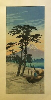 ORIGINAL JAPANESE WOOD BLOCK PRINT Takahashi Hiroaki Shotei Mt. Fuji from Miho