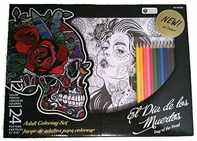 Day of the Dead Adult Coloring Art Set with 24 Posters and 12 Colored Pencils