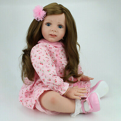"24"" Reborn Baby Dolls Princess Toddler Girl Doll Handmade Vinyl Silicone Gift US"