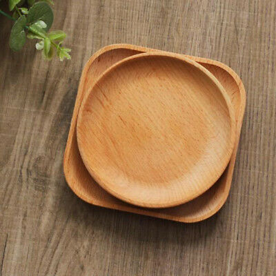 Wooden Round Plates Fruit Cake Tea Coffee Dessert Dish Food Serving Tray 15c ZH