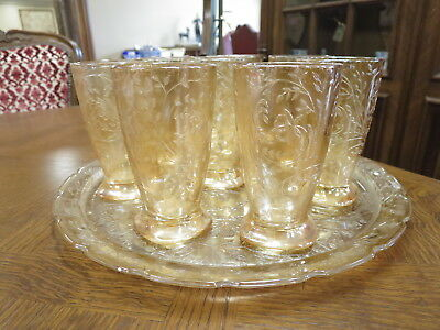 Vintage Carnival Glass Tray And Eight Tumblers.