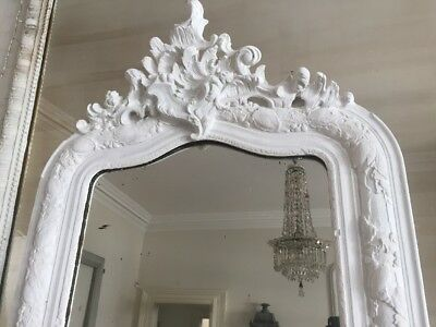 Antique French Crested Mirror - Chalk Paint - Original Glass