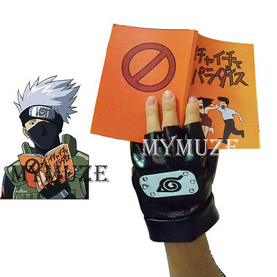 Naruto Kakashi Hatake Cosplay Gloves and Icha Icha Make out Paradise Book
