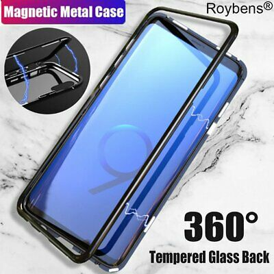 Luxury Magnetic Metal Frame Tempered Glass Back Case For Samsung Galaxy S10+ S9