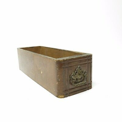 Antique Country Decor Wood Wooden Treadle Sewing Machine Cabinet Drawer Brass