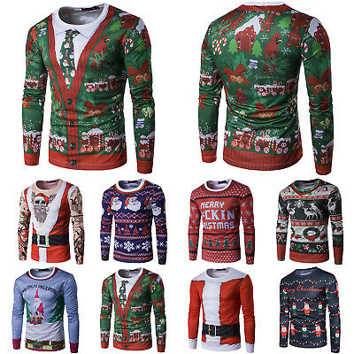 Unisex Ugly Christmas Sweater Xmas Funny Knitted Jumper Santa Sweatshirt Tee Top