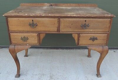 Vintage Walnut Writing Table Desk Dressing Table Lowboy Antique Style, Needs TLC