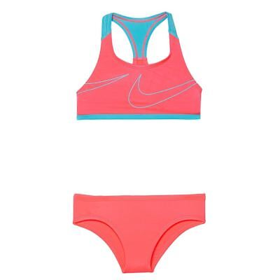 Nike-Bikini-Girls' Nike Swim Macro Swoosh Racerback Sport Top Brief Set-Pink-