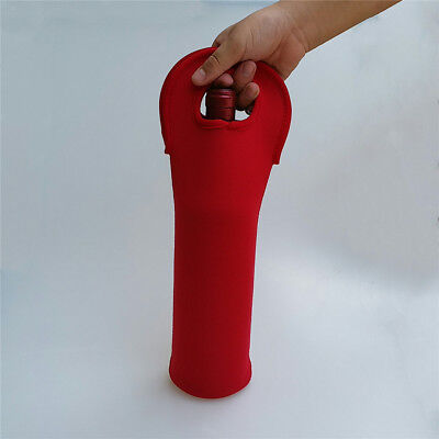 Wine Bag Neoprene Travel Champagne Handle Tote Carrier Storage Sleeve Red