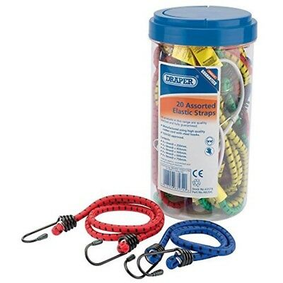 20pc Assorted Bungees - Draper Straps 20 Elastic 63574 Bungee Tie Down Work